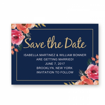 Cheap Rustic Chic Navy Blue Fall Wedding Save The Date Card STD004