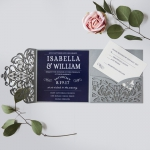 Graceful Navy Blue Floral Silver Pocket Laser Cut Spring Wedding Invitation WIP021