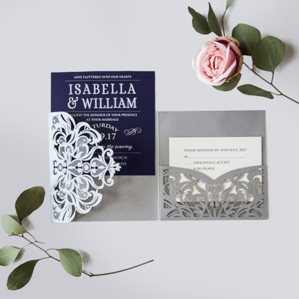 Cheap Wedding Invitations Captivating Navy Blue Silver Laser Cut