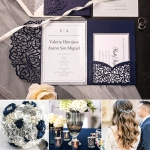 Cheap Navy Blue Pocket Laser Cut Wedding Invitataion with Silver Glittery Belly Band WLC022