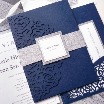 Cheap Navy Blue Pocket Laser Cut Wedding Invitation with Silver Glittery Belly Band WLC022
