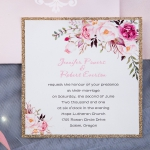 Romantic Blush Pink Floral Laser Cut Wedding Invitations with Gold Glitter Backer, Bridal Shower Invitations , Spring Wedding Invitations WLC025