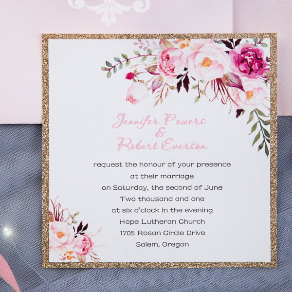 Wedding Shower Invites.Romantic Blush Pink Floral Laser Cut Wedding Invitations With Gold Glitter Backer Bridal Shower Invitations Spring Wedding Invitations Wlc025
