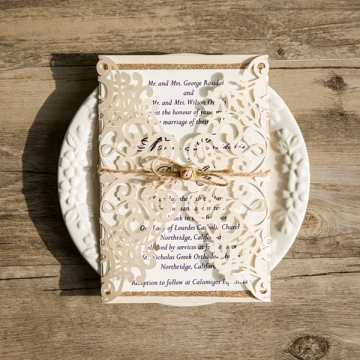 Cheap Rustic Ivory Laser Cut Gold Glittery Wedding Invitation Spring Fall WLC027
