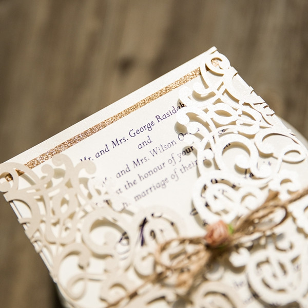 Ivory Laser Cut Gold Glittery Wedding Invitation Wlc027