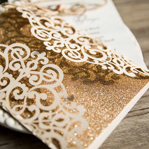 cheap ivory laser cut gold glittery wedding invitation wlc027