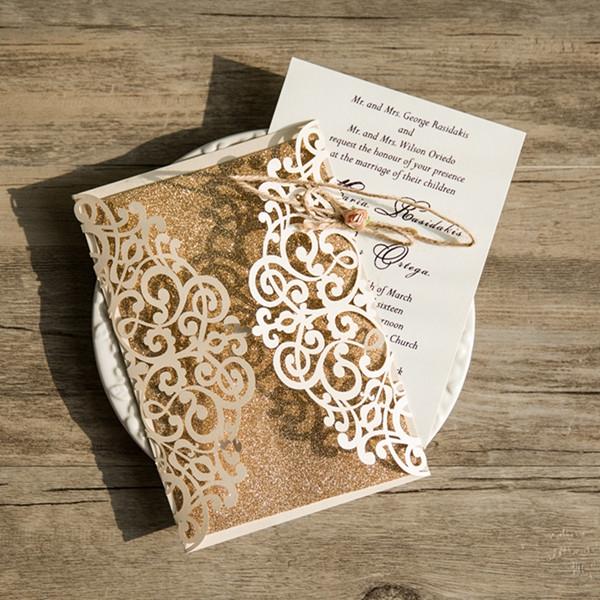 Cheap Ivory Laser Cut Gold Glittery Wedding Invitation WLC027 ...
