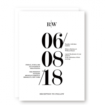 Modern Black and White Bold Wedding Invitations, Minimalist wedding invitations WIP055