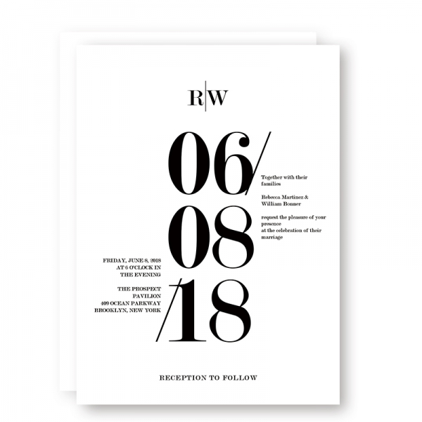 Modern Black And White Bold Wedding Invitations