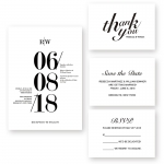 Modern Black and White Bold Wedding Invitation WIP055