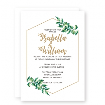 Printable Modern Simple Wedding Invitations with Olive Green Leaves, Gold Foil Geometric Frame and Wordings, Cheap Wedding Invitation, Spring Wedding Invitations, Thank You Cards, RSVP Cards, Save the Date WIP057