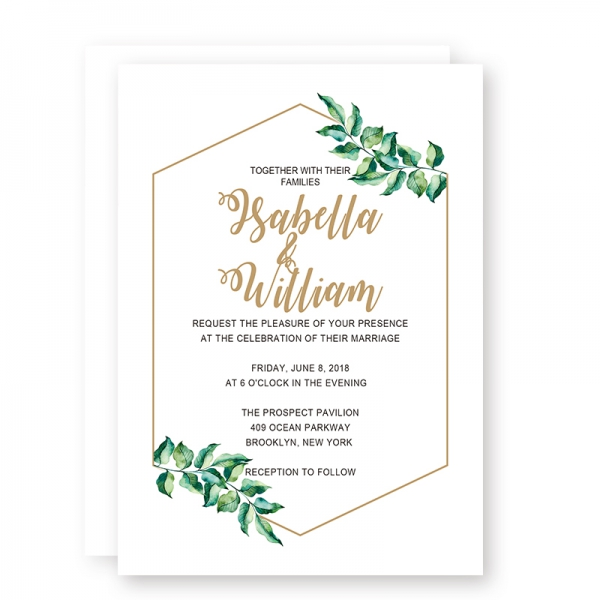 photo about Printable Invitations identify Printable Progressive Basic Marriage ceremony Invites with Olive Inexperienced Leaves, Gold Foil Geometric Body and Wordings, Low-cost Wedding day Invitation, Spring Wedding day