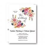 Printable Rustic Coral Floral Wreath Wedding Invitation WIP059