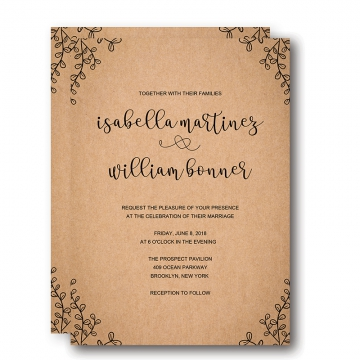 Vintage Rustic Fall Wedding Invitation, Minimalist wedding invitations, WIP061