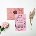 Elegant mauve wedding invitations, vellum wedding invitations, blush wrap, wax seal, custom invites, rustic wedding invitations WIP062