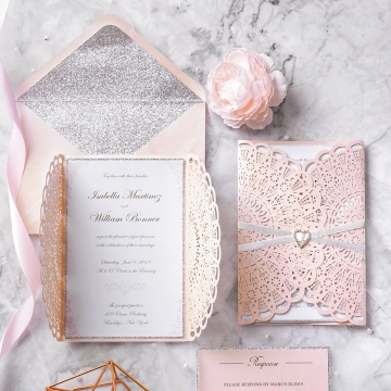 Rose Gold Laser Cut Wedding Invitations Elegant with Belly Band, Spring Blush Pink Wedding Colors, Silver Glitter WLC028