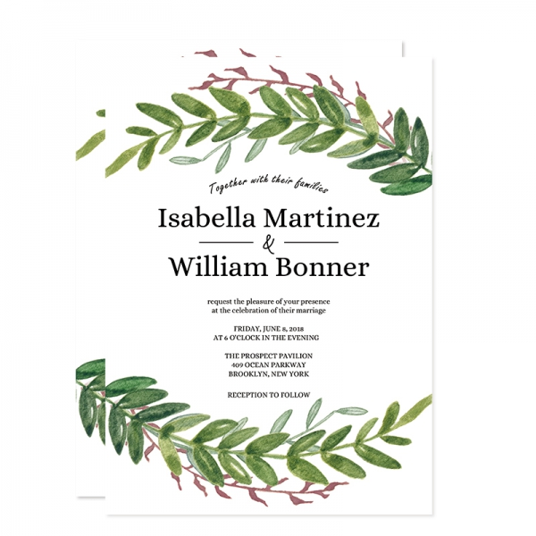 Rustic Spring Olive Leaf Wedding Invitation Wip065