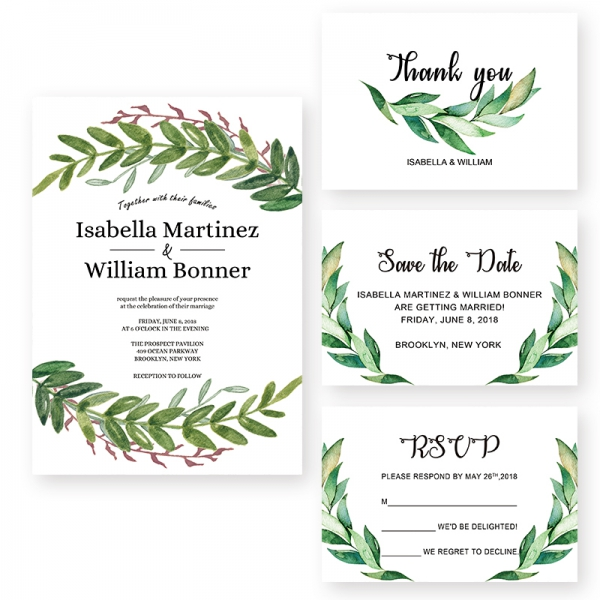 Rustic Spring Olive Leaf Wedding Invitation WIP065 ...