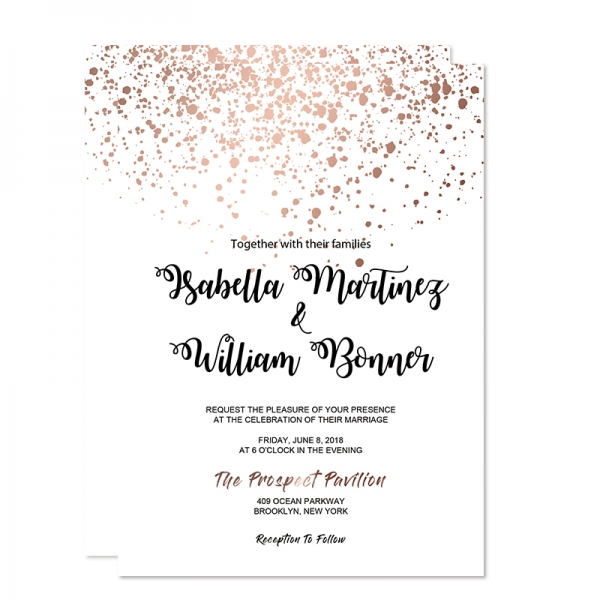 Rose Gold Glittery Spring Wedding Invitation Wip068