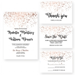 Cheap Rose Gold Glittery Spring Wedding Invitation WIP068