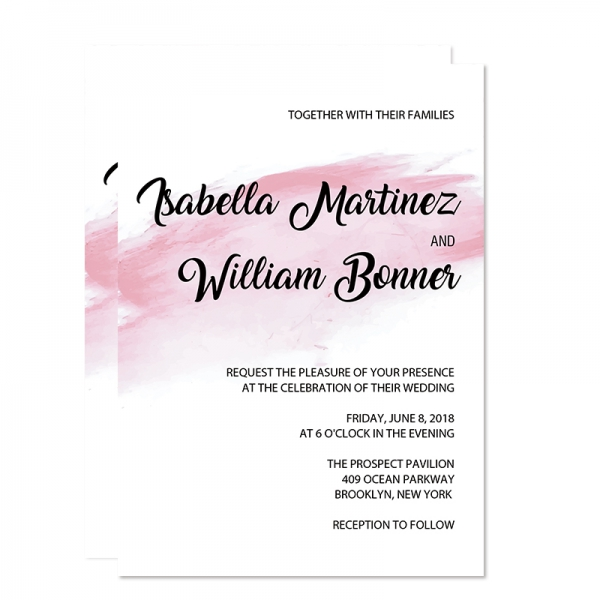 romantic shade of pink watercolor wedding invitation wip069