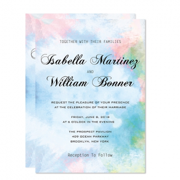 Elegant Watercolor Shade of Blue and Blush Spring Wedding Invitations, Beach Weddings, Summer Wedding Invitations Cheap WIP070