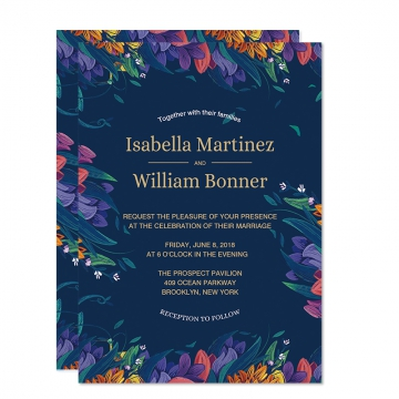 Cheap Rustic Navy Blue Floral Wedding Invitations, Spring Wedding Invitations, Watercolor Purple Flowers,  Invitation Template, Gold Foil Wordings,  Save the Date WIP071