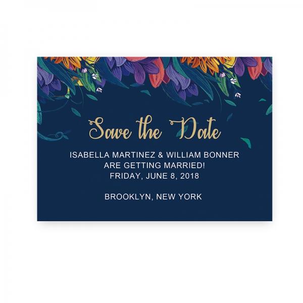 Cheap Blue Wedding Invitations: Cheap Rustic Navy Blue Floral Wedding Invitations, Spring