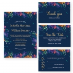 Cheap Rustic Navy Blue Spring Wedding Invitation WIP071