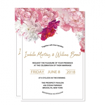 Elegant Blush Pink Floral Spring Summer Wedding Invitations, Bohemian Wedding Invitations Cheap WIP073