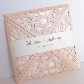 Blush Pink Laser Cut Wedding Invitation, elegant wedding invitations WLC029