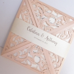 Cheap Blush Pink Laser Cut Wedding Invitation WLC029