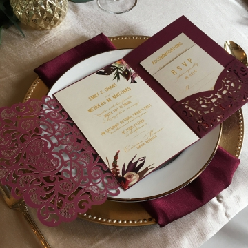 Elegant Burgundy Marsala Laser Cut Pocket Wedding Invitations, Gold Foil Wordings, Vintage Wedding Invites, Burgundy and Blush Flowers, Fall Weddings, Winter Weddings WLC030