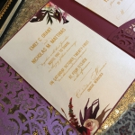 Elegant Burgundy Laser Cut Pocket Wedding Invitation WLC030
