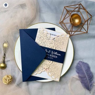 Rustic Blush Laser Cut Wedding Invitation with Navy Blue Belly Band, Spring Wedding Invitations, Bridal Shower Invitations  WLC032