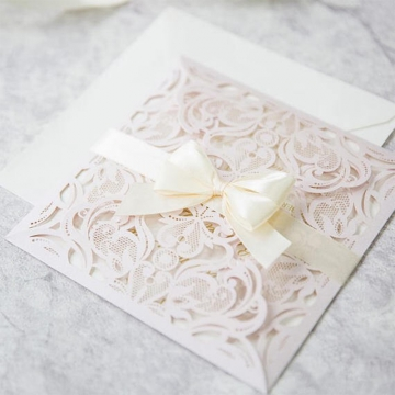Blush Laser Cut Wedding Invitations with White Ribbon Bow, Elegant Wedding Invitations Spring Summer WLC034