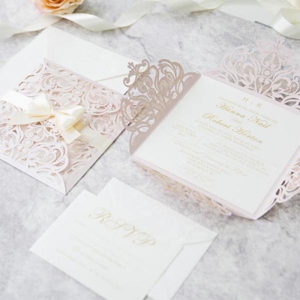 Blush Laser Cut Spring Wedding Invitation With Ribbon Bow Wlc034
