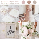 Blush Laser Cut Wedding Invitation with White Ribbon Bow, Spring Wedding Invitations, Bridal Shower Invitations, Pink Glitter    WLC034