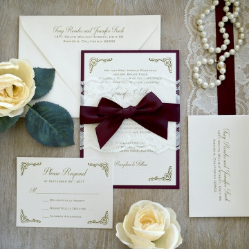 Vintage Burgundy Marsala Lace Elegant Wedding Invitations WLC038