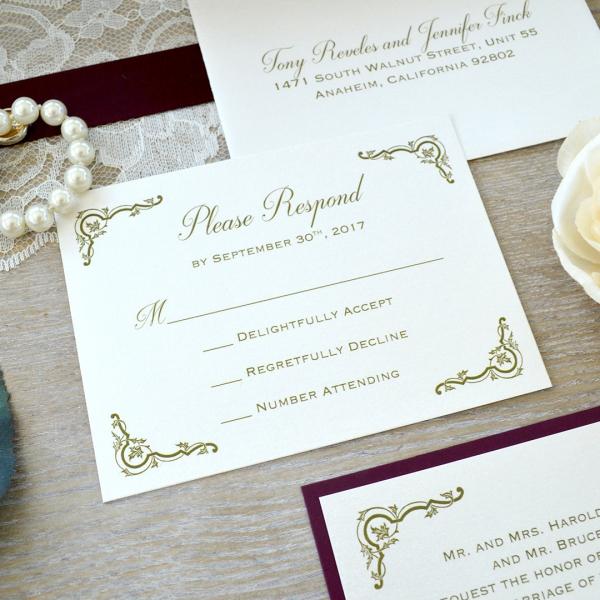 Vintage Burgundy Marsala Lace Elegant Wedding Invitations Wlc038