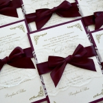 Vintage Burgundy Lace Spring Wedding Invitation WLC038