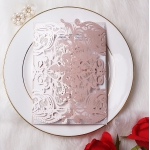 Blush Gatefold Laser Cut Wedding Invitations with White Ribbon and Silver Glitter Backer, Elegant Invitations, Pink Pastel Wedding Colors, Garden Weddings WLC039