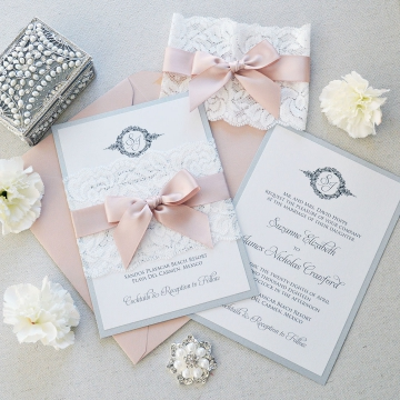 Vintage Lace Shade of White Spring Wedding Invitations, Blush, Elegant Wedding Invitations Cheap WLC040