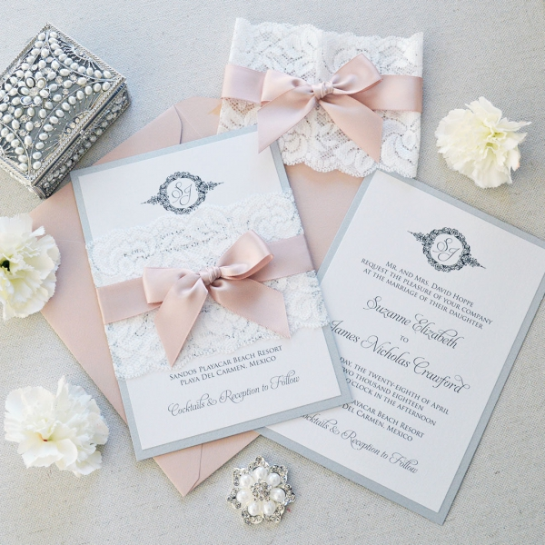 Elegant Inexpensive Wedding Invitations: Vintage Lace Shade Of White Spring Wedding Invitations