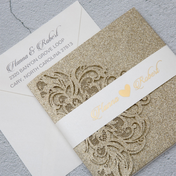 Luxury Champagne Gold Glitter Tri Fold Laser Cut Pocket Wedding