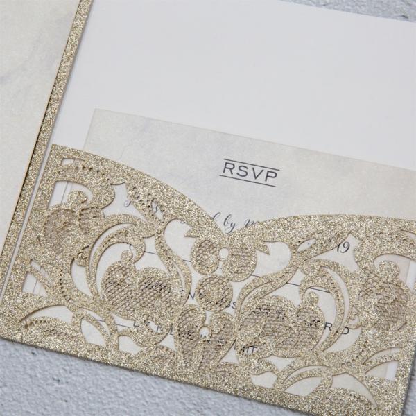 Luxury Champagne Gold Glitter Tri Fold Pocket Wedding Invitation With Belly Band Wlc041