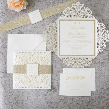 Romantic White Ivory Laser Cut  Wedding Invitations with Gold Glitter Belly Band, spring, fall, winter, elegant wedding invitations  WLC042