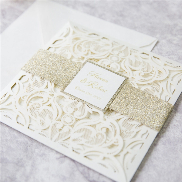 Romantic White Laser Cut Wedding Invitations with Gold Glitter Belly ...
