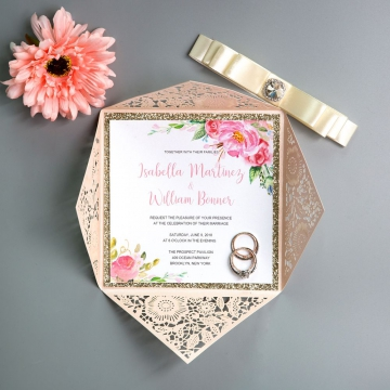 Elegant Blooms-Blush Shimmer Laser Cut Wedding Invitations with Diamante Button Ribbon, Pink Watercolor Flowers Pattern, Spring Weddings, Cheap Invitations WS001