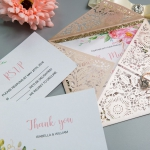 Geometric Blooms-Blush shimmer Laser Cut Wedding Invitation with Crystal Button Ribbon WS001